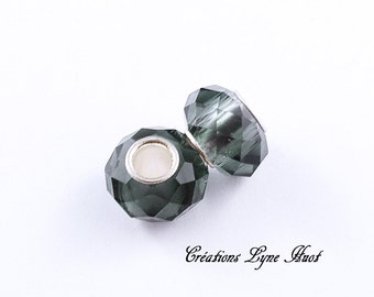 Choose 2 or 5 European single core beads of Murano glass faceted charms ! Smoke Grey color !