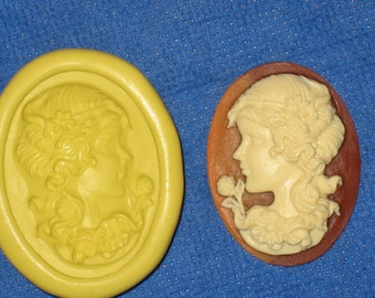Woman Cameo Flexible Push Mold Candy Food Safe Silicone #374 Bookscrapping