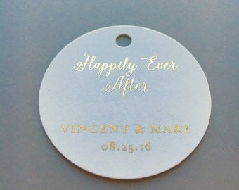 Custom Foiled, Wedding Tags, Baby Shower Tags, Party Favor Tags (Set of 25)