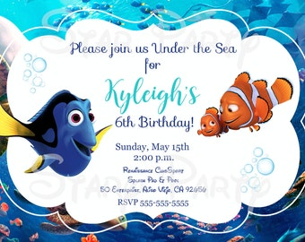 Finding Dory, Dory, Nemo, Birthday, Invitation, Kid's Birthday Party Invite, Birthday Invitation