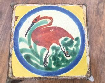 Antique Painted Bird Tile Trivet Old