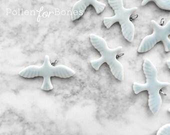 1pc ∙ Blue Porcelain Dove Pendant Ceramic Bird Charm Jewelry Supplies