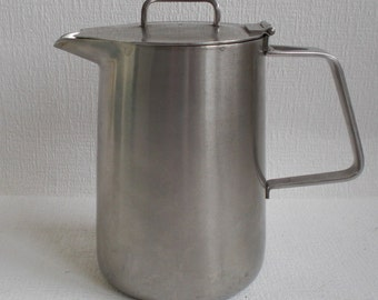 Old Hall Stainless Steel Oriana Coffee/Tea/ Water Pot designed by Robert Welch. Made in England, Vintage 1960