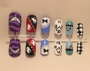 Alice in Wonderland themed nails...