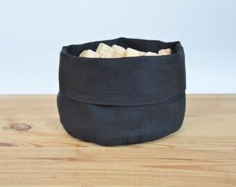 Linen storage/bread basket - Charcoal linen storage / bread bag