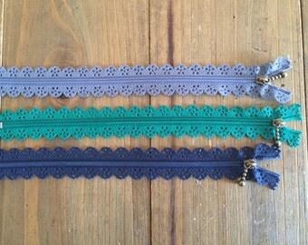 Pack of 3 zippers Zakka, Japanese style 22 cm.