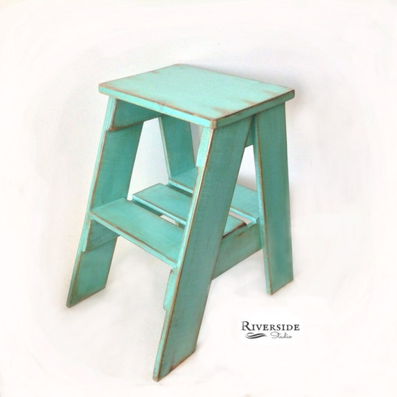 Rustic Wood Step Stool Shabby Chic Furniture Bedroom