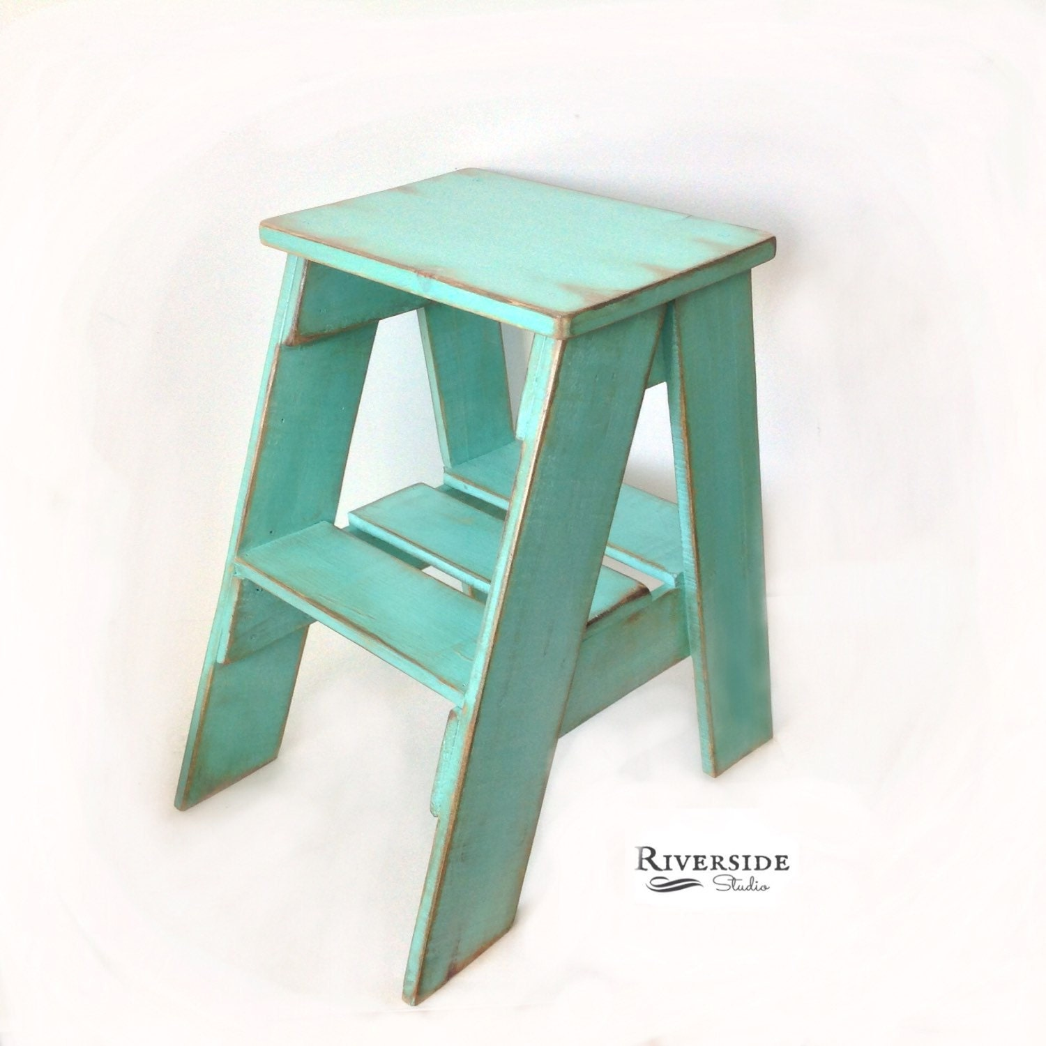 Rustic Wood Step Stool Shabby Chic By Riversidestudioon On Etsy