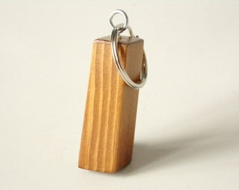 Pine Wood Block Keyring Dyed Brown