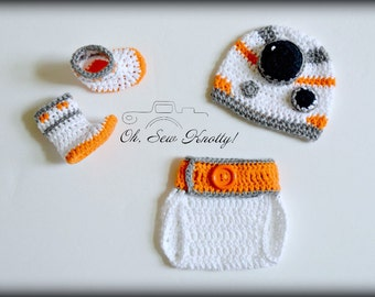 Star Wars Baby BB-8 Droid Sphero Sci-Fi Crochet Hat & Diaper Cover Handmade Crochet  Hat-Crochet Beanie Set, Outfit, Costume, Photo Prop