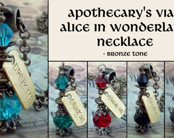 Bronzetone Steampunk Apothecary's vial bottle necklace - Drink me Alice in Wonderland necklace