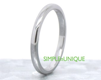 2MM Tungsten Wedding Band Comfort Fit Domed Engagement Promise Ring Band for Men Women Wedding Couple Ring Matching Simple Slim Thin Band