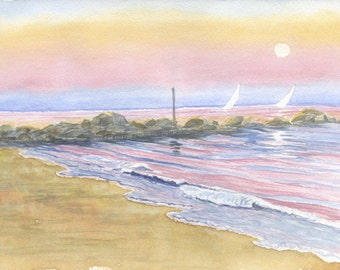Sailboats At Full Moon - Available as Fine Art Giclee print