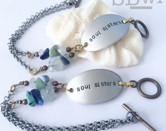 2 'souls sisters' bracelets in aluminum with mixed stone detail