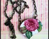 Handmade broken china big OOAK pink peony necklace