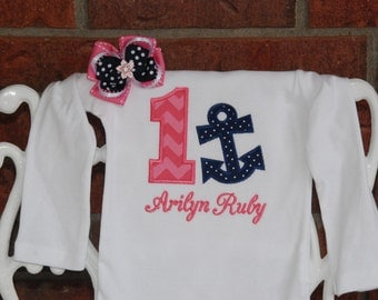 2 pc. Baby Girl Nautical Birthday Outfit! Baby Girl Anchor First Birthday Shirt and Hair bow! 1st birthday outfit/Navy and pink nautical
