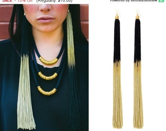 Gold And Black Statement Earrings, Ombre Tassel Earrings, Long Tassel Earrings, Extra Long Earrings
