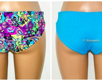 Seamless Reversible Hips Bikini Bottom, Full Coverage Bikini Bottoms, Fully Lined Spandex Swim Suit Bottom:  Choose Your Own Colors
