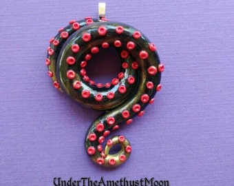 ON SALE Black, red and gold polymer clay tentacle necklace