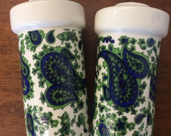 Vintage Japanese Paisley Salt and Pepper Shakers