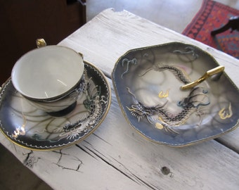 Antique Dragonware Demitasse Cup and Saucer and Serving Trayk