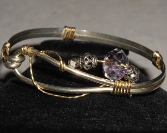Handmade Sterling & Brass Crystal Bangle Style Bracelet