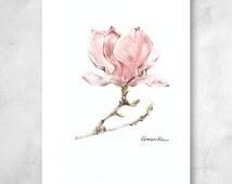 Magnolia Flower Print, Spring Flower Drawing, Magnolia Farmhouse Decor, Botanical Wall Decor | Limited Edition of 20 Pigment Art Prints
