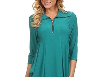 Womens Ladies Fashion Asymmetrical V-neck Drape Top Blouse with Pockets
