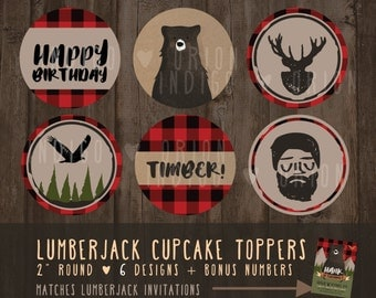 Lumberjack Birthday | Cupcake topper | Round Tags | Instant download printable files