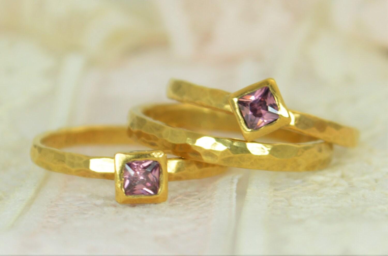 Square Alexandrite Engagement Ring, Gold Filled, Alexandrite Wedding Ring  Set, Rustic Wedding Ring Set, June Birthstone, Alexandrite