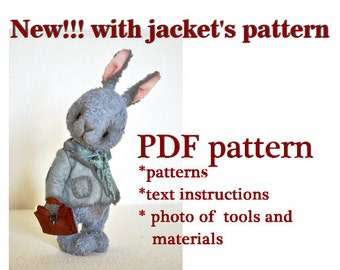 PDF teddy bear pattern download to create Teddy Bear stile Artis Rabbit Piter 10 inch handmade collectible  Teddy Bear  Bunny sewing pattern