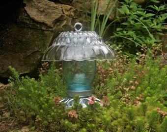 Vintage Blue Jar Bird Feeder