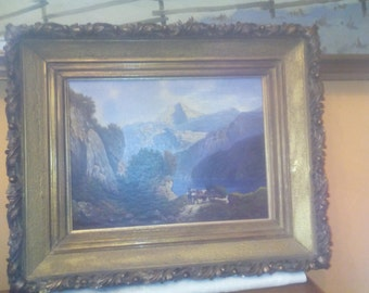 Oil painting Lake in 1917 signed Reichert 63x52cm in the stucco