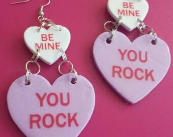 Be Mine, You Rock Conversation Heart Dangle Earrings