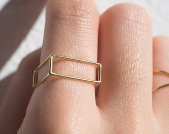 Rectangle Ring  gold jewelry silver jewelry geometric jewelry easy jewelry modern design