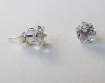 White Topaz gemstone sterling silver ear-rings