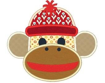 Sock Monkey Applique Machine Embroidery Design 051614 Applique 4X4 5X7 8X8 6X10 Instant download
