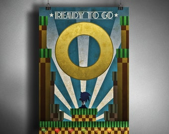 Sonic the Hedgehog Art Deco Style Art
