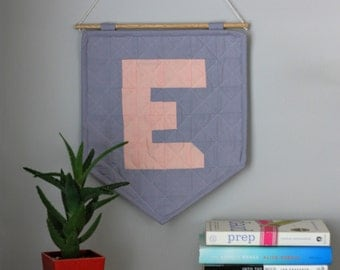 The Quilted Wall Hanging - Blush + Grey - Personalize Your Letter or Symbol