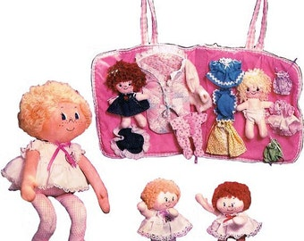 Set of 3 Different Sized Adorable Dolls With Clothes and Carrier