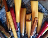 Wonderful Color Collection of Sixteen (16) Vintage Plastic Bakelite Kitchen Utensils - Sheffield Chase - Art Deco Knives Can Openers Cheese