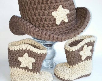 Baby Cowboy Boots and Hat Brown