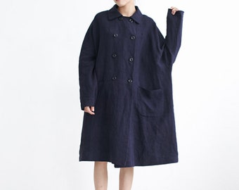 Linen Trench Coat,Duster Coat,Oversized Double Breasted Windbreak,linen coat,Long Jacket,Dark Blue