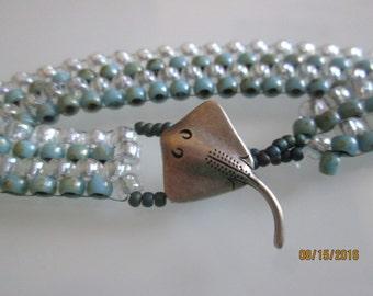 Peyote Stitch Seed Bead bracelet with Sting Ray closure