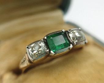 Georgian era emerald and diamond ring, 1800s antique, dreamy diamonds!