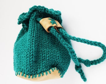 Green Leather-Bottomed Dungeoneer's Dice Bag
