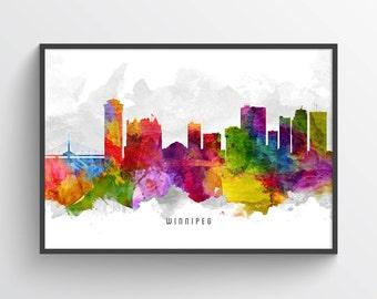Winnipeg Poster, Winnipeg Skyline, Winnipeg Cityscape, Winnipeg Print, Winnipeg Art, Winnipeg Decor, Home Decor, Gift Idea, CAMBWI13P