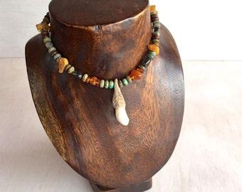 bohemian,tribal,gypsy,stone necklace,wild,NomadWorld