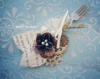 Steampunk Boutonniere, Rustic Vintage, Fork, Knife, Spoon
