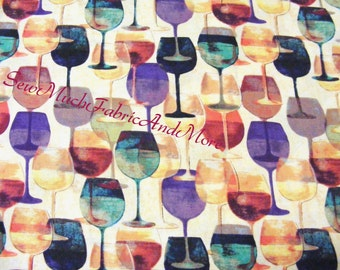 Marada Vineyard Wine Glasses Fabric~Beth Yarbrough~By the 1/2 yard~Springs Creative~CP48368